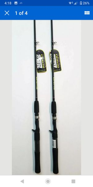 Brand new fishing poles, diferent sizes, glow in the dark tip shakespeare, Zebco, Rhino tough. for Sale in Cottonwood Heights, UT