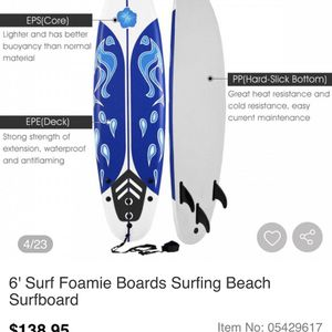 BRAND NEW IN BOX— 6' Surf Foamie Boards Surfing Beach Surfboard for Sale in Bakersfield, CA