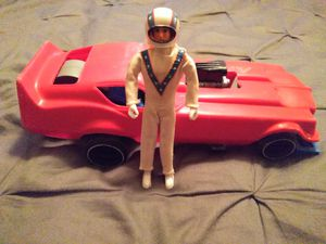 "VINTAGE COLLECTIBLE IDEAL 1972 EVEL KNIEVEL 7"" ACTION FIGURE WITH FUNNY CAR for Sale in El Mirage, AZ"