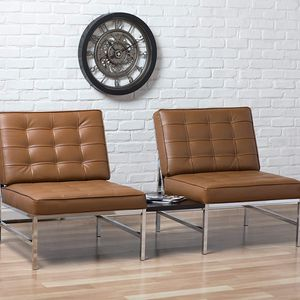 Brown Faux Leather Sofa Chair / Accent Chair With Chrome Legs for Sale in Chino Hills, CA