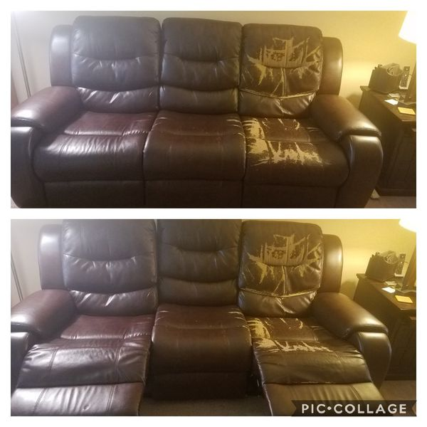 Brown Faux Leather Recliner Sofa