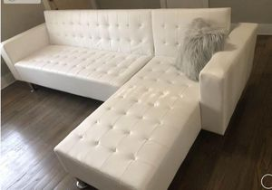 (BRAND NEW) White Leather Adjustable Sofa/ Chaise Futon for Sale in Sugar Land, TX