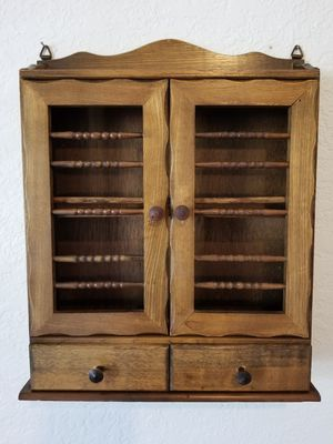 Antique Vintage Spice Cabinet with Drawers Farmhouse Cottage Shelf Rack Wood for Sale in Menifee, CA