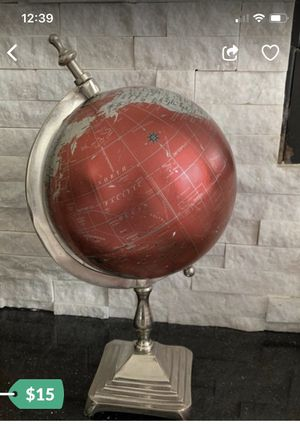Red /Silver 🌎 World Map Design Globe !!! Final reduced price!!!Gorgeous!!! Decorative!!!from home goods for Sale in Streamwood, IL
