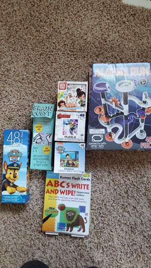 4 puzzles, marvle run game, ABC and write and wipe, brain quest for Sale in Baltimore, MD