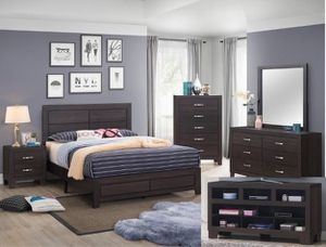 Bedroom set Queen bed +Nightstand +Dresser +Mirror. Mattress not included for Sale in Downey, CA