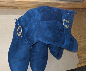 Fur lined blue stylish boots with a wedge heel size 8 1/2 for Sale in Albuquerque, NM