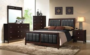 4 piece queen bedroom set queen bed frame dresser and mirror nightstand for Sale in Antioch, CA