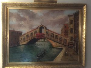 "Morris Katz Early Original Large Painting - Signed 1965 Rialto Bridge Venice - 56""x45"". - Original Studio Frame! for Sale in New York, NY"