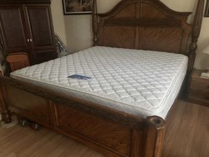 Real wood king size bed with mattress excellent condition for Sale in Miami, FL
