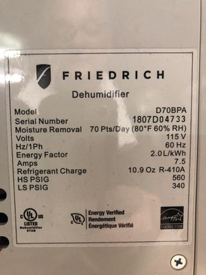 Friedrich Dehumidifier for Sale in Argyle, TX