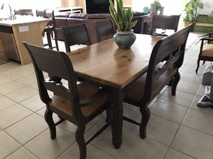 Dining room table. 100% wood includes 4 chairs and a bench. Excellent condition for Sale in San Clemente, CA
