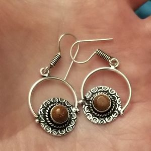 Brand New Beautiful Solid 925 Silver Orange Sunstone Earrings. for Sale in West Valley City, UT
