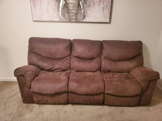 Brown Ashleys Microfiber Reclining Sofa for Sale in Scott Air Force Base,  IL