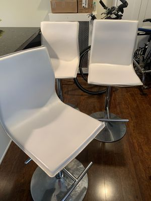 Three white bar stools for Sale in Scotch Plains, NJ
