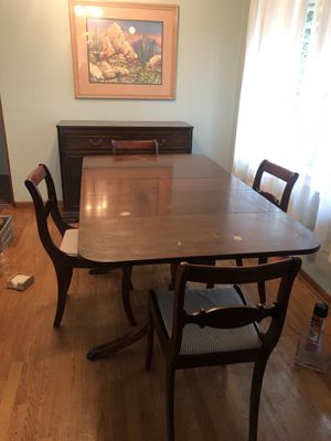 Antique Dining room table, 4 chairs, and matching Hutch for Sale in Seattle, WA
