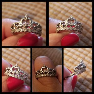 Size 6 925 Sterling Silver Cubic Zirconia Princess Heart Crown Tiara CZ Band Ring for Sale in Nashville, TN