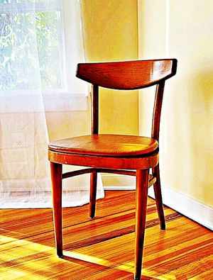Wooden Shelby Williams Industries MCM chairs (4) with leather seat cushion. for Sale in Revere, MA
