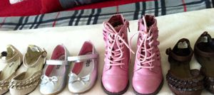 Toddler size 6 silver flats and pink boots for Sale in Owasso, OK