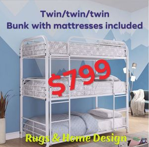 Triple bunk bed and all 3 mattresses included for Sale in Visalia, CA
