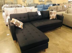 Brand New Black Linen Sectional Sofa Couch for Sale in Silver Spring, MD
