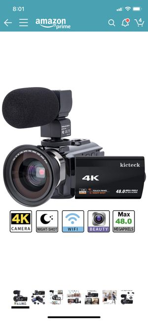 Video Camera Camcorder 4K kicteck Ultra HD Digital WiFi Camera 48.0MP 3.0 inch Touch Screen Night Vision 16X Digital Zoom Recorder with External Micr for Sale in Rancho Cucamonga, CA