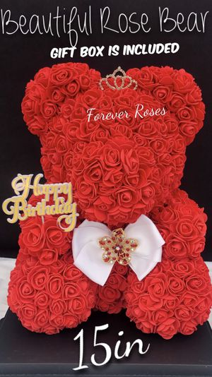 🐻🌹Rose Bear 15in Tall. Perfect Gift 🎁. Roses Are Made Out Of Foam. for Sale in Lynwood, CA