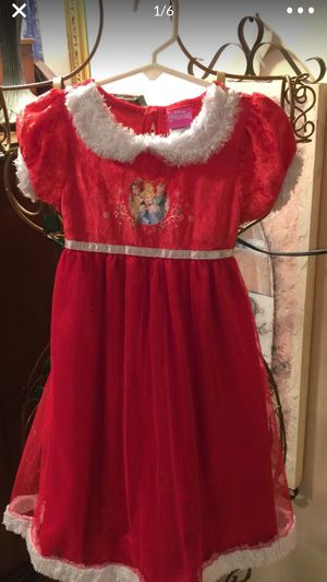 Little girls red velvet lounge dress Disney brand with princesses on front size 4 little girls for Sale in Northfield, OH