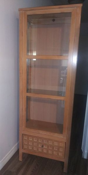 HAMMARY glass display cabinet with drawer for Sale in El Cajon, CA