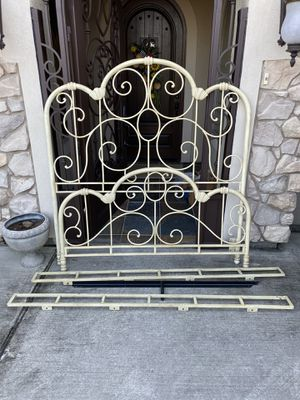 Queen size iron decorative bed frame - cream colored for Sale in Spring, TX