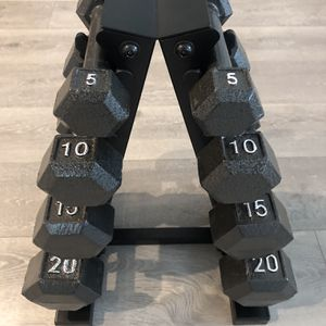 100LB Dumbbell Set 5,10,15,20LB Pair with Rack- FIRM ON PRICE! NO LOW BALLERS! for Sale in Irvine, CA
