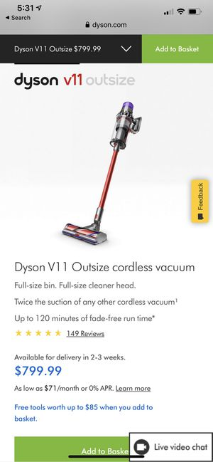 Dyson V11 OUTSIZE Full-size bin. Full-size cleaner head. Twice the suction of any other cordless vacuum¹ Up to 120 minutes of fade-free run time for Sale in Los Angeles, CA