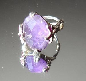 Faceted Size 5 1/2 Amethyst Ring, Sterling Silver, February Birthstone for Sale in Dayton, OH