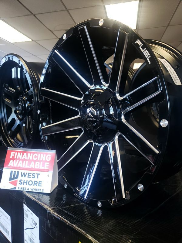 "20x9 20"" 5×114.5- 5x127 +1 ,78.1cb Fuel Wheels D615 Gloss Black/Mill Tires Available Jeep TJ JK Wrangler Cherokee Stock Lifted"
