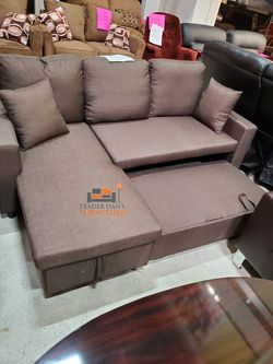 Brand New Brown Linen Sectional Sleeper Sofa w/Storage Chaise for Sale in Silver Spring,  MD