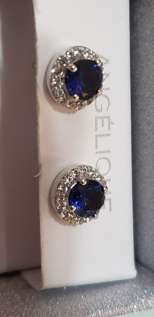 Blue sapphire with Diamonds sterling silver earrings for Sale in Round Rock, TX