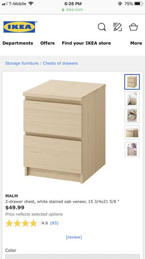 MALM 2-drawer chest white stained oak veneer *2 for Sale for sale  Englewood, NJ