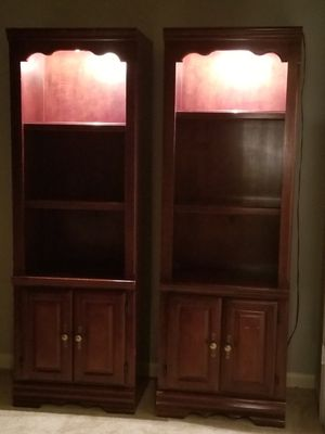 Cherry wood lighted adjustable bookshelves for Sale in Raleigh, NC