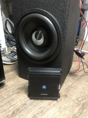 Lanzar 12 inch sub in q bomb ported box and alpine amp for Sale in Manchester, CT