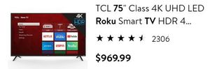 "75""TCL ROKU SMART TV for Sale in Glendale, AZ"