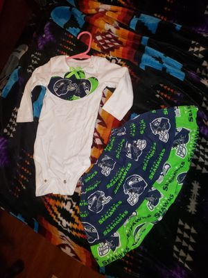 Baby 12 months SEAHAWKS outfit. Hand-made for Sale in Tacoma, WA