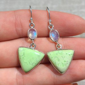Lemon Chrysoprase - Tanzania & Rainbow Moonstone 925 Earrings for Sale in San Francisco, CA