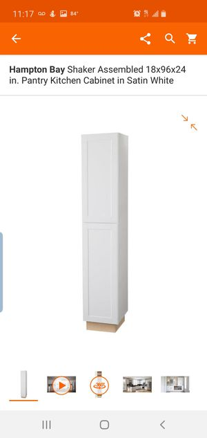 Hampton Bay Shaker Assembled 18x96x24 in. Pantry Kitchen Cabinet in Satin Whit for Sale in Dallas, TX