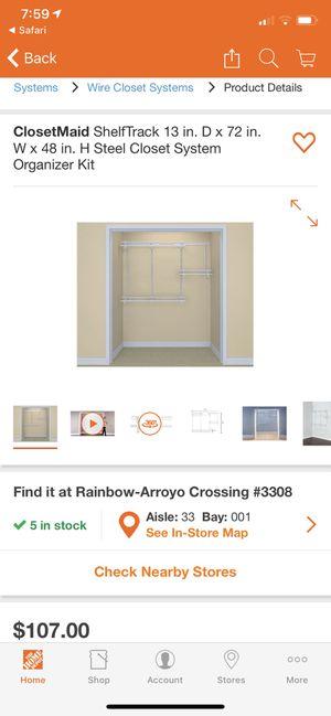 ClosetMaid ShelfTrack 13 in. D x 72 in. W x 48 in. H Steel Closet System Organizer Kit for Sale in Las Vegas, NV