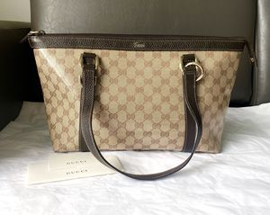 Authentic Gucci Tote bag, leather& coated canvas for Sale in Atlanta, GA