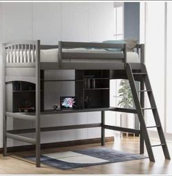 Twin Loft Bed with Desk, Solid Wood Twin Size Loft Bed with Shelves (Gray) for Sale in Whittier,  CA