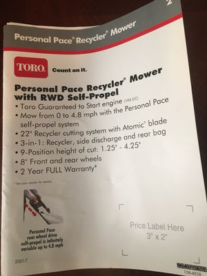 Free Toro mulching mower... use for parts for Sale in Worth, IL
