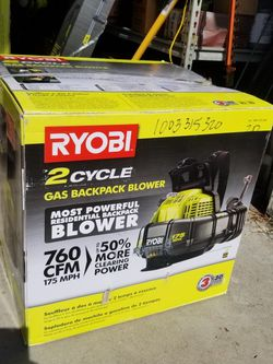 RYOBI 175 MPH 760 CFM 38cc Gas Backpack Leaf Blower for Sale in Huntington Beach,  CA
