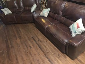 "Ashley Jayron Sofa Power Recliner and Loveseat Power Recliner - Real Leather - Covered by Warranty - Free 60"" TV for Sale in Chicago, IL"