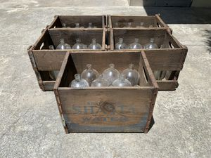 100 year old original Shasta Water Company antique glass bottles in original vintage wooden crates for Sale in Beverly Hills, CA
